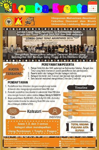 Lomba Cepat Tepat Akuntansi LCTA 2019 SMA Sederajat Se-Kalimantan