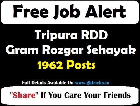 Tripura RDD Gram Rozgar Sehayak 1962 Posts