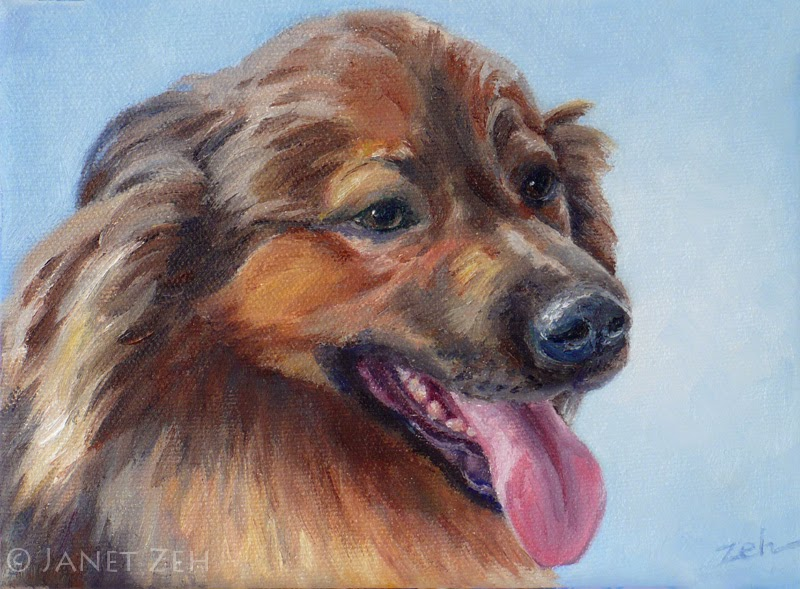 Portrait of a Leonberger dog in oil on canvas