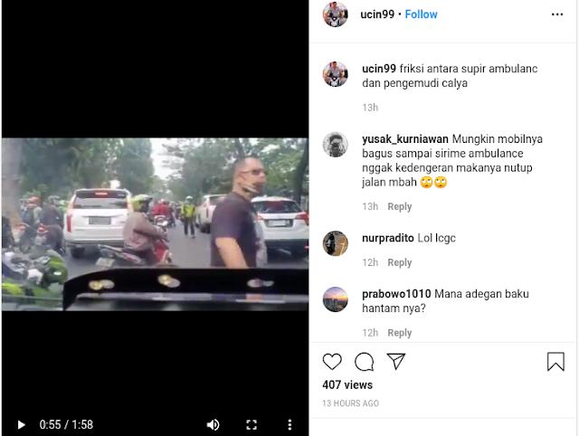 Video Supir Ambulan Nyaris Bentrok vs Pengemudi Calya