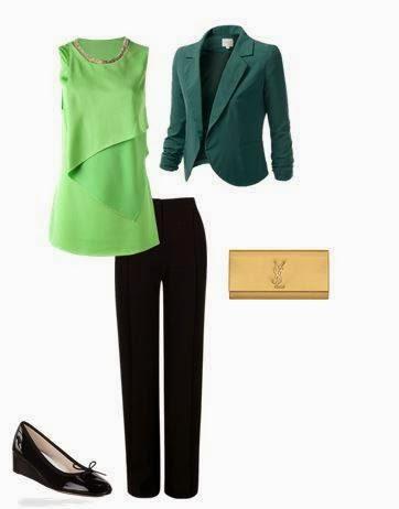 Sugestão baptizado - calças pretas clássicas, top verde lima fluído com decote brilhante, blazer curto cintado verde mais escuro, sabrinas pretas verniz com cunha, clutch dourada
