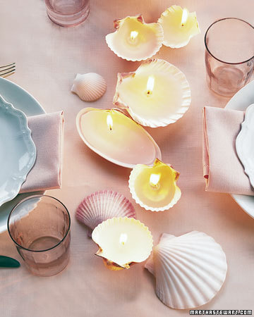 These seashell candles are great for a beach themed dinner party.