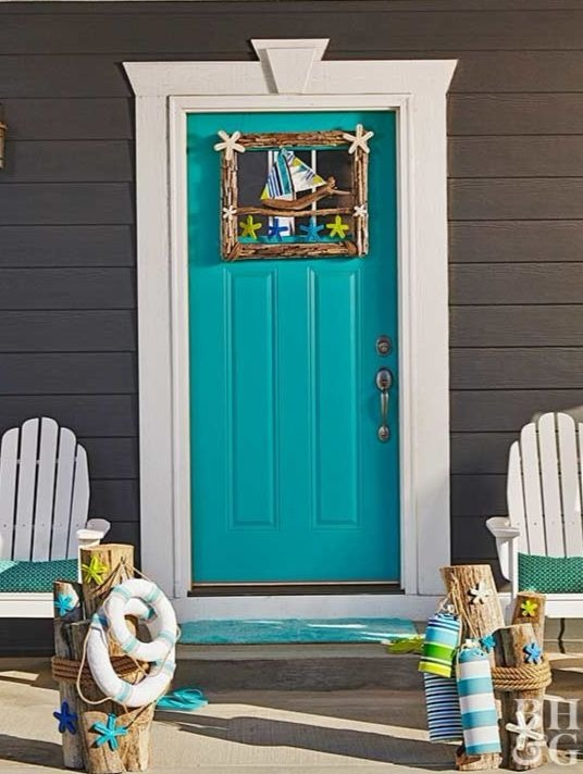 Blue Front Doors with Coastal Curb Appeal