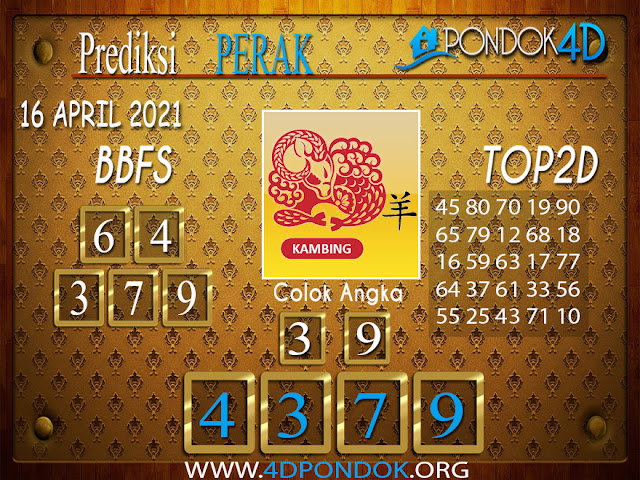 Prediksi Togel PERAK PONDOK4D 16 APRIL 2021