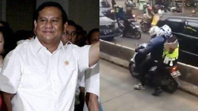 Prabowo Komentari Video Polisi yang Loncat ke Jok Motor Pelanggar, Netizen Ramai Minta 'Follback'