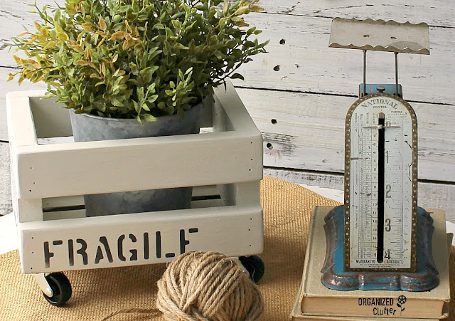 Shipping Crate Stenciled Mini Plant Crate With Casters #Oldsignstencils #stencil #goodwill #thriftshopmakeover #upcycle #repurpose #shippingcrate