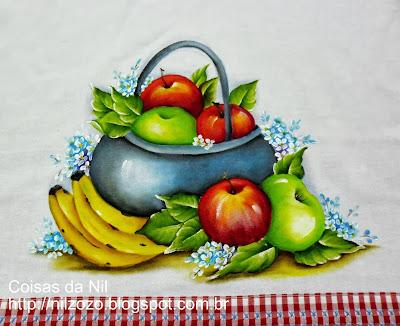 pintura tacho de ferro com macas e bananas