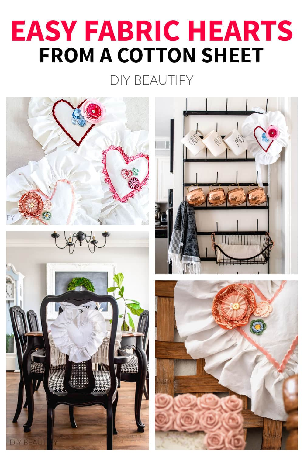 easy fabric shabby chic hearts with vintage trim