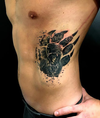 bear claw side abdominal tattoo for men