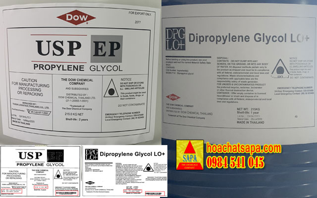 Nhãn trên phuy Propylene Glycol USP/EP và Dipropylene Glycol LO+ Dow có thay đổi