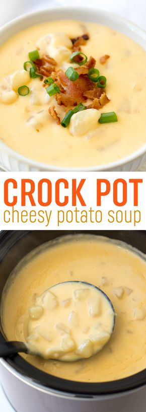 CROCK POT CHEESY POTATO SOUP #potato #potatosoup #cheesypotatosoup #easydinnerideas #easydinnerrecipes #dinner