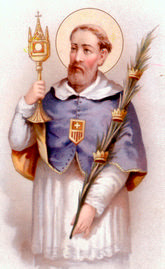 San Ramon con la Custodia en la mano derecha y palma de martirio en la otra