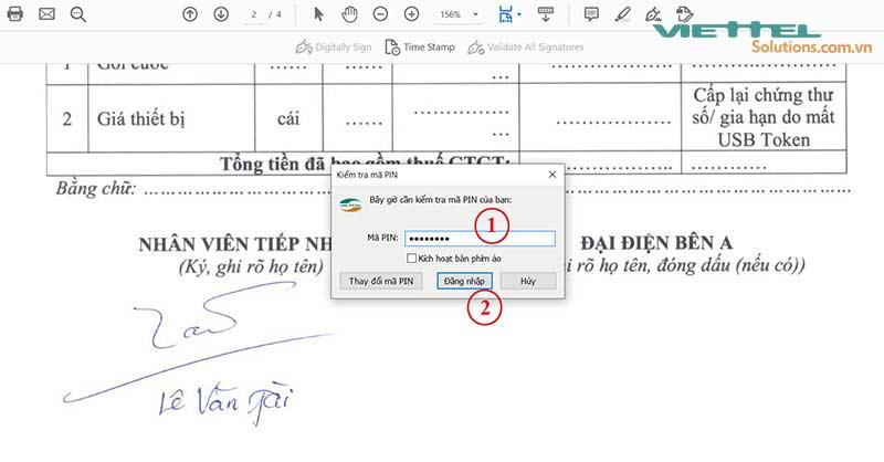 Hình 16 - Nhập mã PIN của USB token Viettel ký điện tử