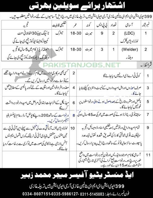 399 Aviation EME Battalion Pak Army Jobs March 2021 Latest