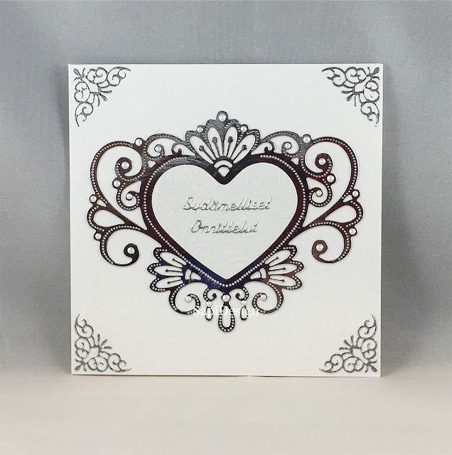 weddingcard luxury royal pearls silver heart lace SapiDesign