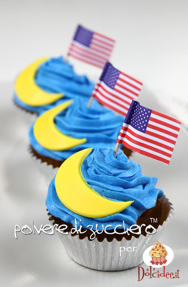 cupcake pasta di zucchero sbarco sulla luna cameo pane angeli cake design polvere di zucchero