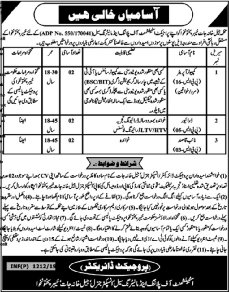 KPK Prisons Department Jobs 2019 for Computer Operators, Drivers & Naib Qasid Latest