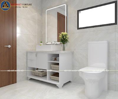 Mẫu tủ lavabo đẹp màu trắng Xuyên Việt
