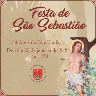 Picuí viverá de 10 a 20 de janeiro festividades do padroeiro São Sebastião. Confira programação