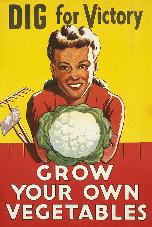 Dig for Victory, Grow Your Own Vegetables - Vintage Produce Food Poster, advertising, classic posters, food, free download, free posters, free printable, graphic design, printables, produce, retro prints, vintage, vintage posters, vintage printables, war