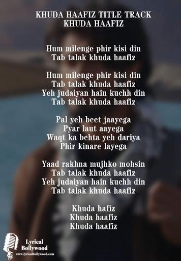 Khuda Hafiz Title Track Lyrics in English