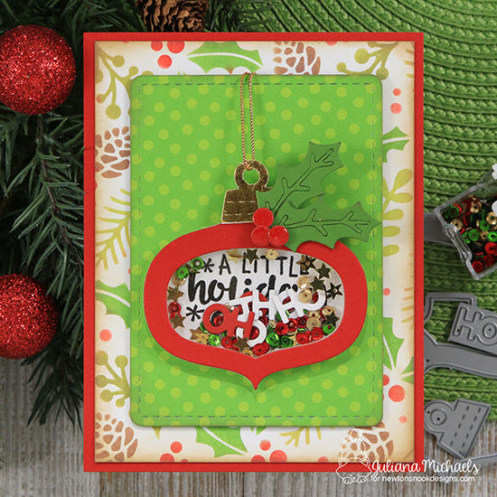 Ornament Card by Juliana Michaels | Ornamental Wishes Stamp Set, Ornament Shaker Die Set, Holiday Foliage Stencil, and Pines & Holly Die Set by Newton's Nook Designs #newtonsnook #handmade