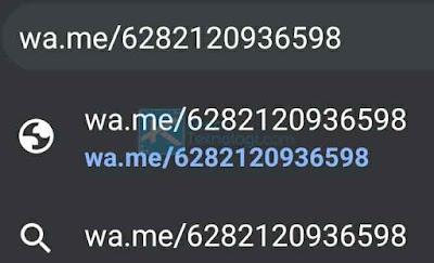 Pastikan Anda mengganti angka 0 menjadi +62 (kode negara nomor telepon Indonesia). Kemudian klik pada url (yang atas) bukan penelusuran Google.