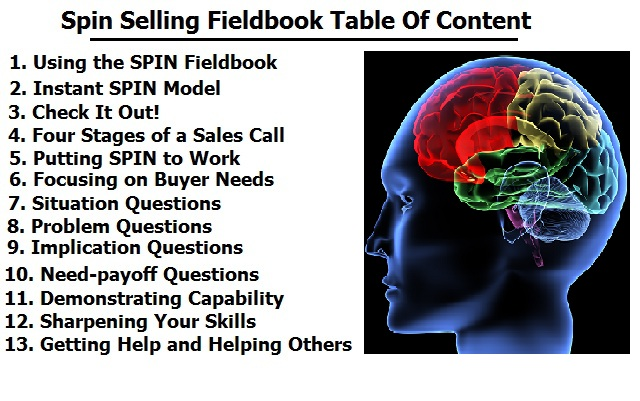 spin out table spin selling workbook sales skills and techniques