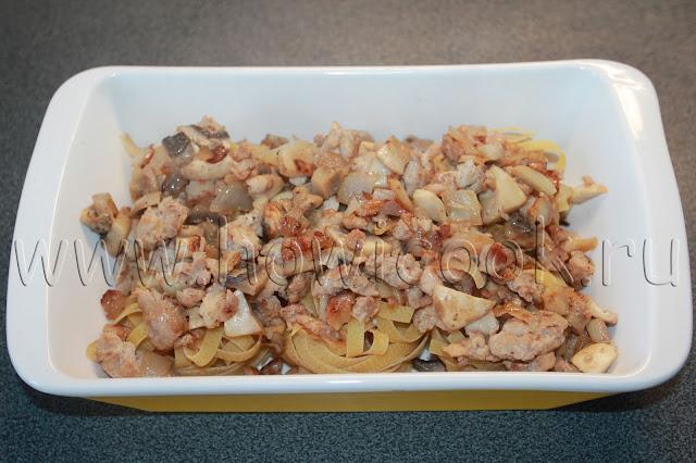 рецепт макаронных гнезд с курицей и грибами с пошаговыми фото