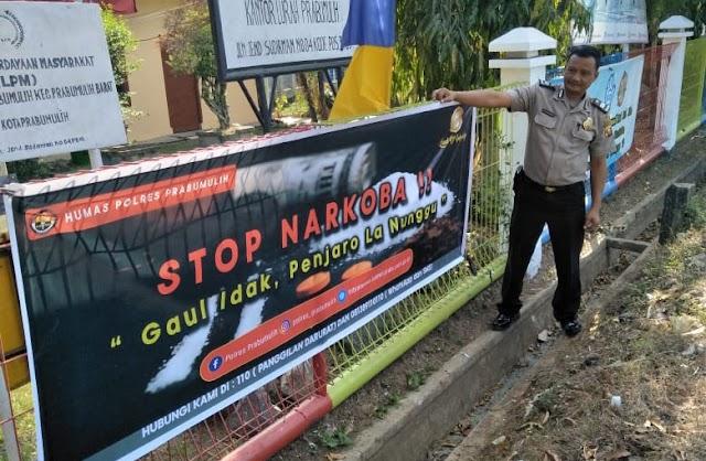 STOP Narkoba, Polres Prabumulih Pasang Spanduk Himbauan