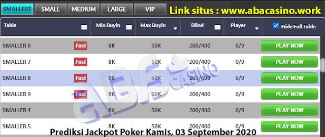 Prediksi bocoran jackpot pokerqq online di meja Smallest hari ini Kamis, 3 September 2020
