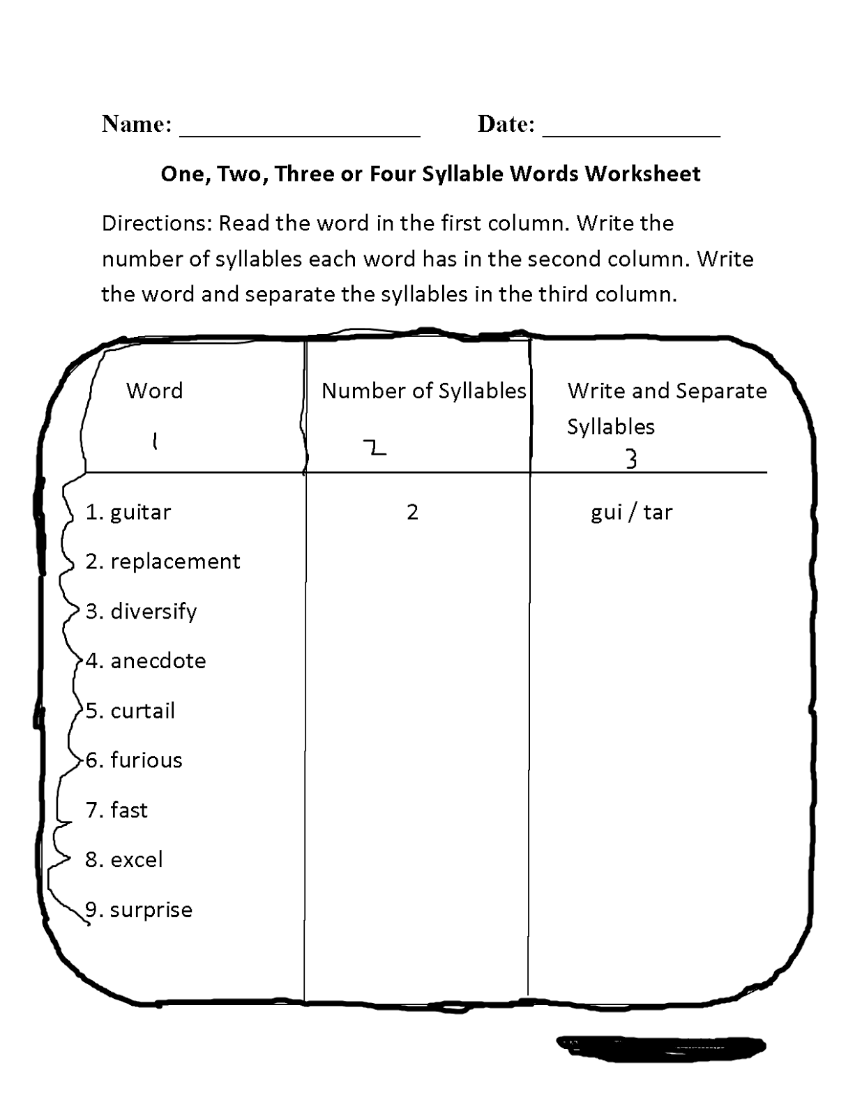 Lesson Plan Of Syllables English Grade 3