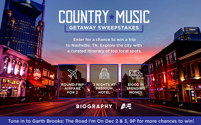 A&E wants you to enter for your chance to win a getaway trip to Nashville, Tennessee to explore the city with a curated itinerary of top local spots!