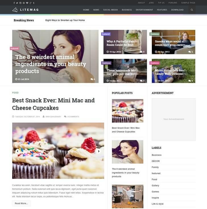 Litemag - изчистена и отзивчива тема за Blogge