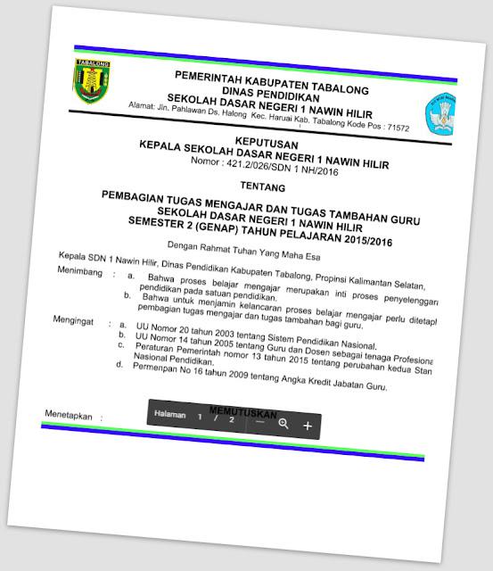 Aplikasi SK Pembagian Jam Guru Mengajar Sesuai Juknis BKN