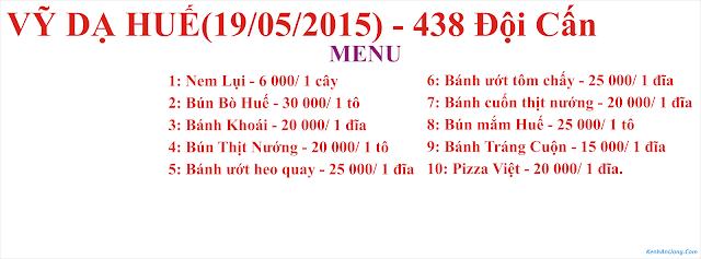 Menu Quán Vỹ Dạ Huế - 438 Đội Cấn - Ba Đình - Hà Nội