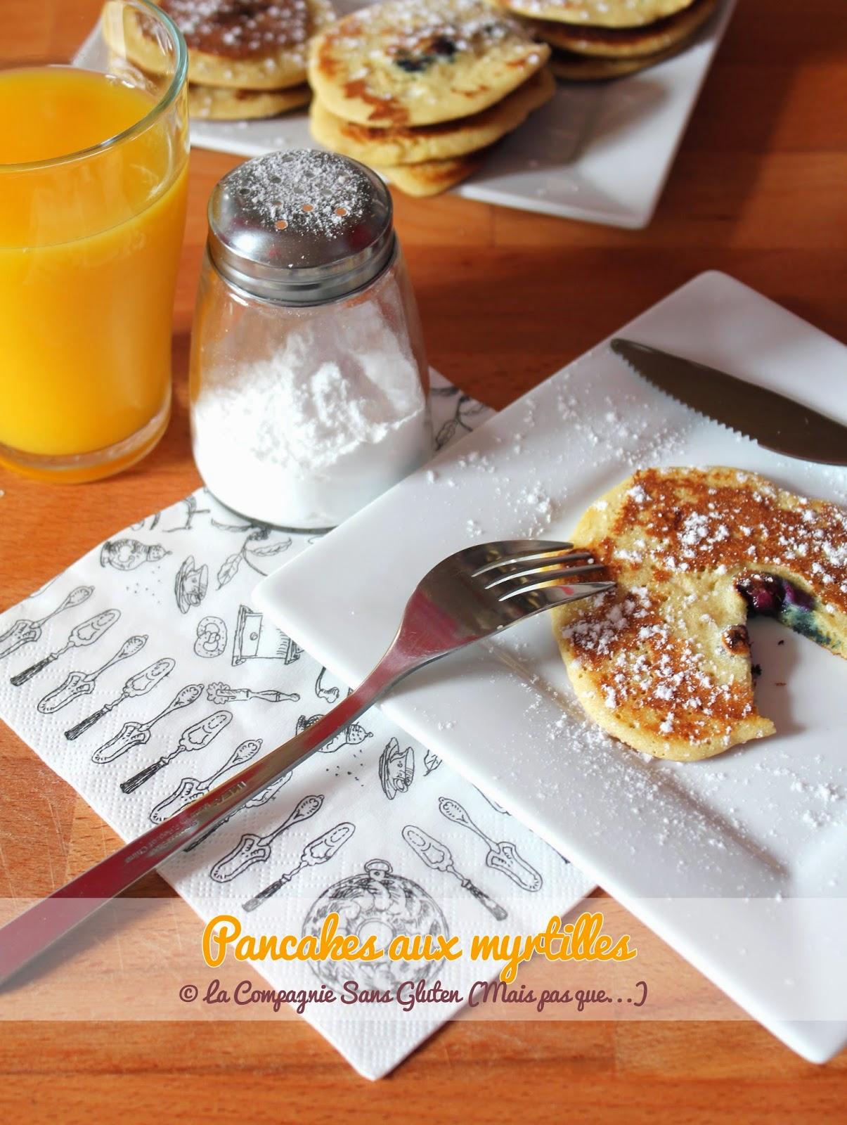 pancakes aux myrtilles sans gluten sans lait la compagnie sans gluten un blog sans gluten. Black Bedroom Furniture Sets. Home Design Ideas
