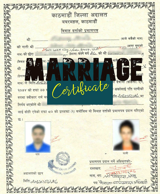 Marriage registration marriage certificate