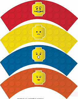 Lego Party Free Printable Cupcake Wrappers and Toppers.