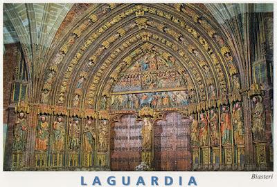 postal, Laguardia, iglesia, pórtico, Santa María