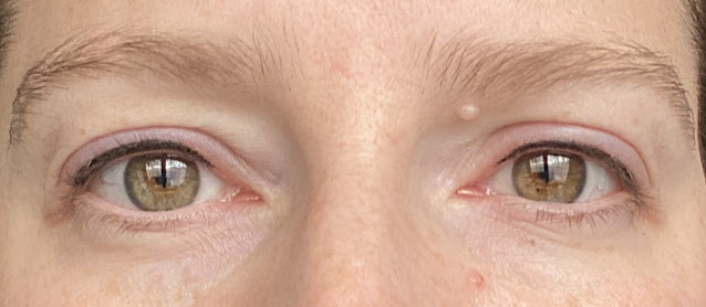 Close up of hazel eyes with subtle permanent eyeliner the day after treatment