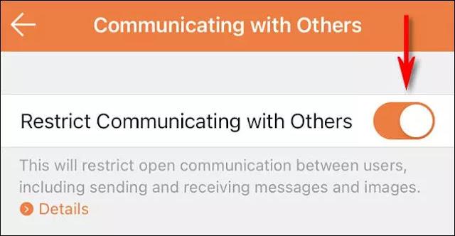 """En la aplicación Control parental de Nintendo Switch, habilita """"Restringir la comunicación con otros""""."""