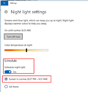 Mengatur night light agar otomatis aktif pada windows 10