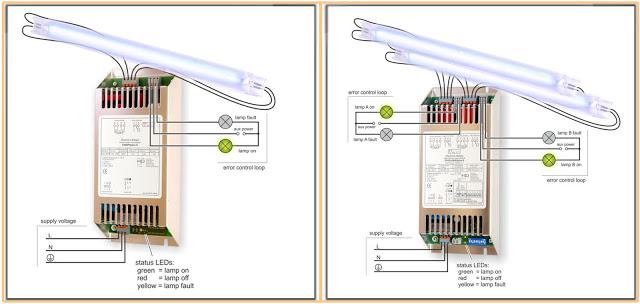 Contoh Rangkaian Ballas Elektronik dengan 1 dan 2 Lampu TL (fluorescent)