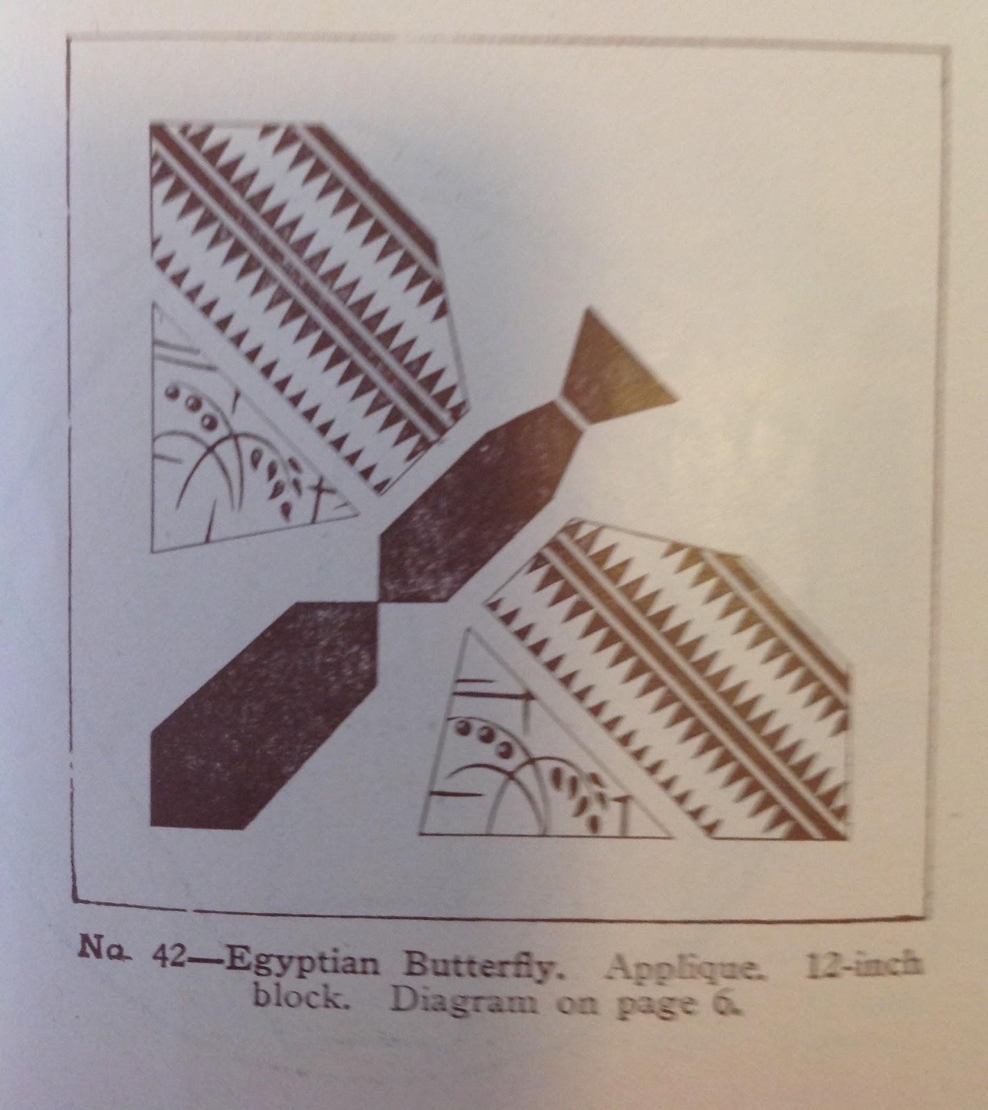 This egyptian butterfly applique is also very simple with it s squared shapes