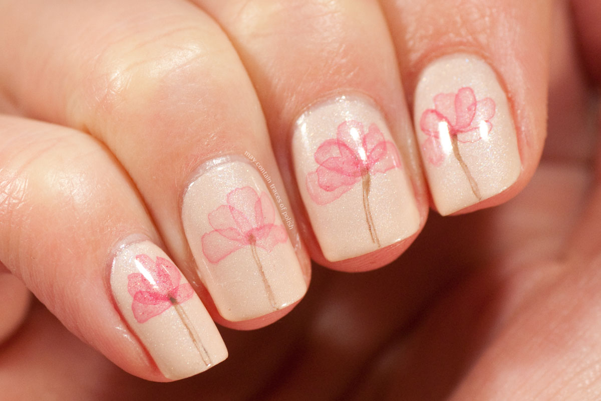 Water Colour Floral Nail Art Pink Delicate Flower Manicure