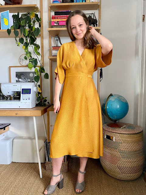 Diary of a Chain Stitcher: Closet Core Patterns Elodie Wrap Dress in Topaz Hammered Viscose Satin from The New Craft House