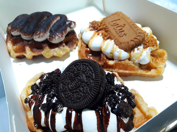 assorted cream croissant waffles