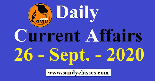 Daily Current Affairs in Hindi / English - 26 September 2020