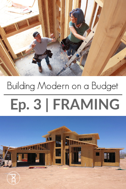 A husband and wife Framing a modern house and dream workshop on nights and weekends and sharing how much it costs